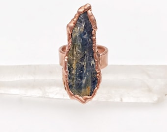 Electroformed Copper Blue Kyanite Ring, Size 10 // Pure Copper, Wide Band, Natural