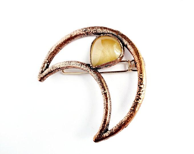 Golden Rutile Crescent Moon and Copper Hair Clip // Electroformed Copper, Barrette