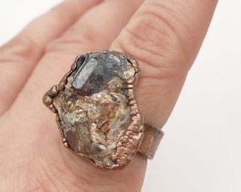 Electroformed Copper Rutile Ring, Size 8.5 // Pure Copper, Wide Band, Natural