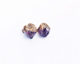 Electroformed Raw Amethyst Crystal Point Stud Earrings // Copper and Sterling Silver Posts // Amethyst, Crystal, Gemstones