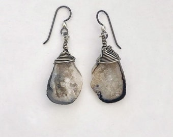 Geode Druzy Earrings // Niobium French Ear Wires // Hand Wrapped and Drilled Stones // Dangle Earrings, Crystals