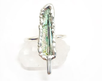 Fine Silver and Iridescent Carved Feather Abalone Ring, Size 8.25 // Electroformed, Pure Copper and Silver // Feather Ring, Shell Ring