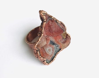 Scarlet Chalcedony Druzy and Copper Wide Band Ring, Size 7 // Electroformed, Pure Copper