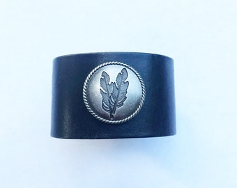 Handmade Black Recycled Leather Cuff // Antique Silver Feather Concho // 8.75 Inch