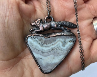 Run Wild Collection // Gunmetal Fox and Lovely Lilac Agate with Crystal Necklace // Electroformed Copper, Soldered Chain // Woodland Animal