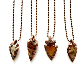 Jasper Arrowheads and Copper Necklace // Electroformed, Antique Copper Ball Chain // Natural Stone