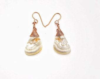 Crazy Lace Agate Dangle Earrings with Copper French Ear Wires // Hand Drilled and Wrapped // Stone Earrings