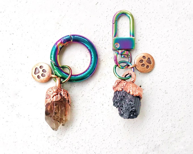 Crystal Charms and Copper Paw Print for Your Pet // Copper Electroformed Crystals // Collars and Harnesses // Iridescent Rainbow Swivel Hook