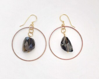 Faceted Smoky Quartz Hoop Earrings // Brass Findings, Rocks and Minerals, Stones