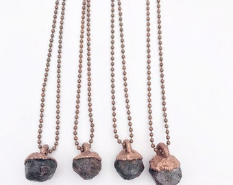 Raw Garnet and Copper Necklace // Electroformed, Copper Ball Chain // Raw Stone