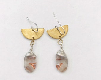 Crazy Lace Agate Drop Earrings // Brass and Sterling Silver // Stone Earrings, Dangles
