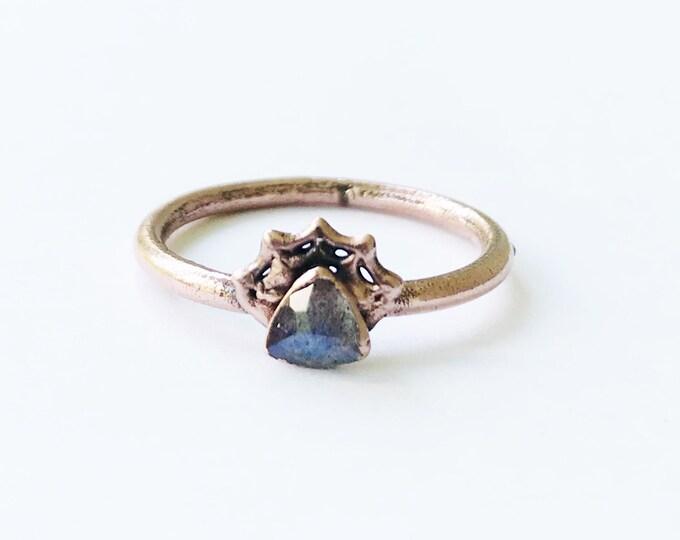Spiderweb Labradorite and Copper Ring, Size 9 // Electroformed, Pure Copper // FLASH