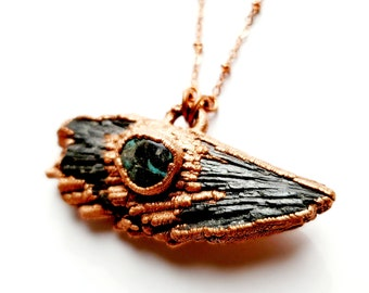 Black Kyanite Fan with Turquoise Pendant Necklace // Soldered Copper Chain // Electroformed, Raw Stone