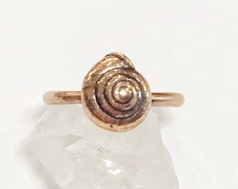 Copper Electroformed Snail Shell Ring, Size 7.5 // Shell Ring, Pure Copper