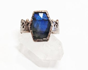 Coffin Shaped Faceted Labradorite and Copper Statement Ring, Size 9.5 // Electroformed, Pure Copper //Flame Design Band