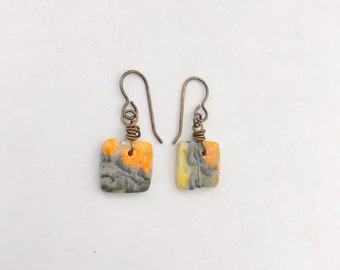 Bumble Bee Jasper Drop Earrings // Brass Earhooks // Stone Earrings