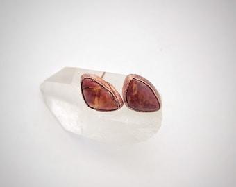 Red Jasper Copper Stud Earrings // Electroformed // Gemstone