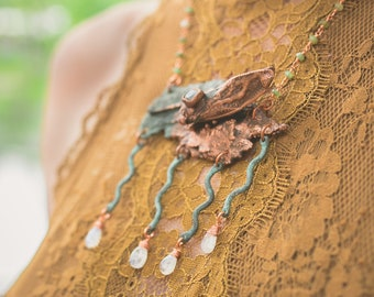 Electroformed Copper Cicada on Oak Tree Bark with Rainbow Moonstone Drops and a Chrysoprase Rosary Chain // Cruelty-Free, Insects, Wood