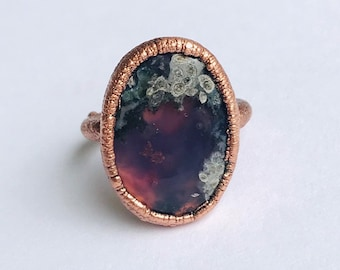 Purple Moss Agate Copper Electroformed Ring, Size 5.5 // Handcrafted Ring, Nature, Rocks and Minerals