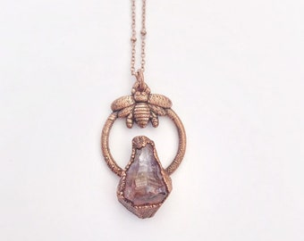 Electroformed Copper Bee and Ametrine Point Necklace // Soldered Copper Chain // Raw Crystal, Honeybee, Bee Keeper