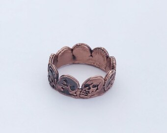Antique Copper Electroformed Skull Band, Size 8.75 // Pure Copper // Skulls