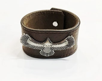 Handmade Chocolate Recycled Leather Cuff // Antique Silver Eagle Concho // 8 Inch