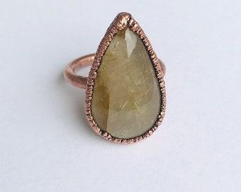 Electroformed Copper Golden Rutile Quartz Ring, Size 7.5 // Pure Copper, Natural, Golden Needles