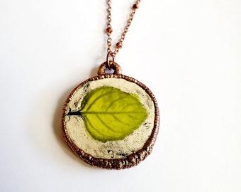 Electroformed Handmade Ceramic Pressed Leaf Pendant // Soldered Copper Chain // Copper, Nature