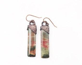 Healing Jasper Electroformed Earrings // Antique Copper Kidney Earwires // Jasper, Gemstone