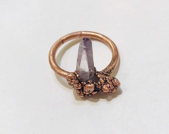 Vera Cruz Amethyst Point Electroformed Copper Ring, Size 6.5 // Crystals, Rocks and Minerals