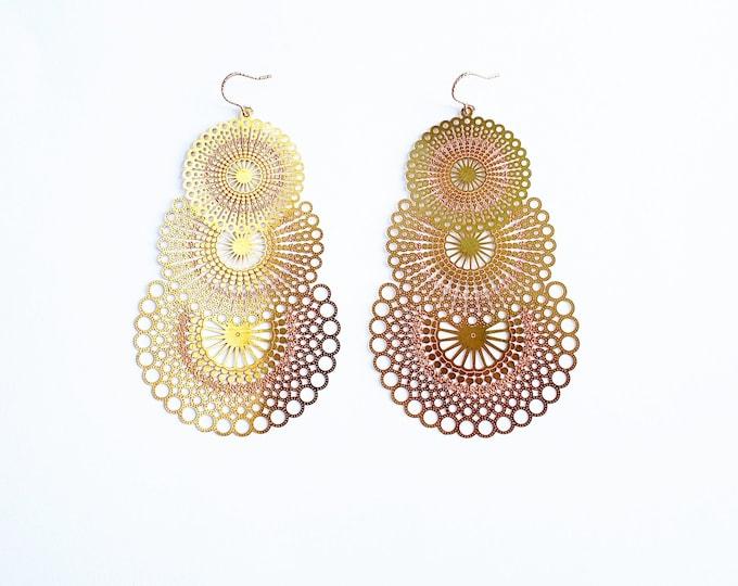 Large Brass and Copper Sun Burst Earrings // Rose Gold Ear Hooks // Unique Earrings, Drop Earrings, Dangle Earrings