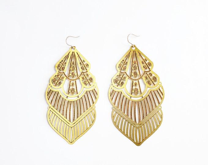 Large Brass and Copper Swaying Earrings // Rose Gold Ear Hooks // Unique Earrings, Drop Earrings, Dangle Earrings