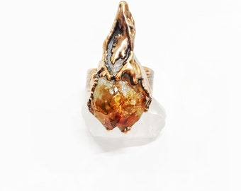 Citrine Point and Drizzled Copper Ring, Size 9 // Electroformed, Pure Copper, Wide Ornate Band