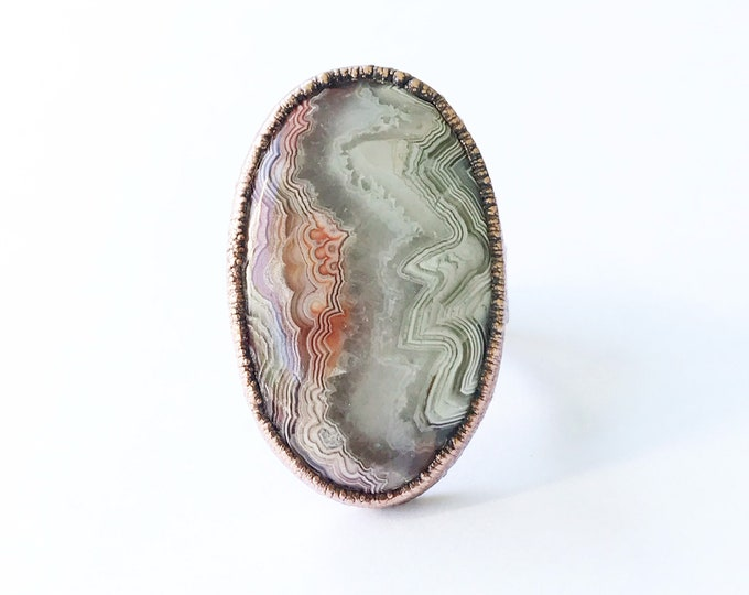 Electroformed Copper Crazy Lace Agate Wide Band Ring, Size 9 // Statement Ring, Natural Stone, Flower Band Design