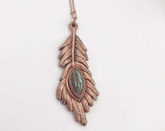 Copper Peacock Feather Design with Real Turquoise Necklace // Electroformed, Pure Copper // Feather Necklace