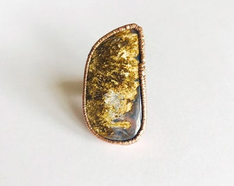 Large Plume Agate and Copper Ring, Size 6.25-6.5, Wide Band // Electroformed, Pure Copper