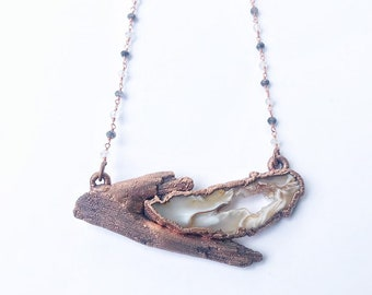 Copper Driftwood and Oco Occo Agate Geode Druzy Necklace // Electroformed // Rutilated Quartz Rosary Chain