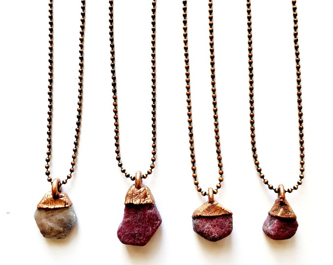 Raw Ruby Necklace // Electroformed Jewelry // Antique Copper Ball Chain // Natural Stone Jewelry