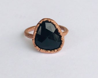 Checker Cut Smoky Quartz Electroformed Copper Ring, Size 9.25 // Crystals, Rocks and Minerals