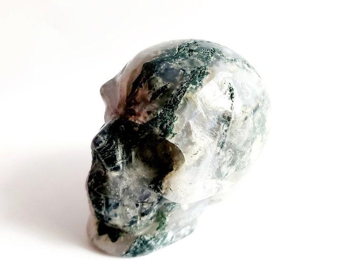 Carved Green Moss Agate Skull // Cancer Birthstone, Gemstone // Healing Stone // Metaphysical, Crystal