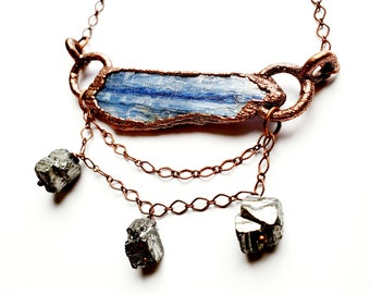 Blue Kyanite Blade Necklace with Pyrite and Copper Chain Dangle // Electroformed, Copper Chain
