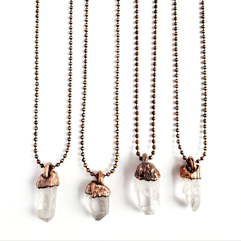 Clear Quartz Point Necklace  Electroformed Jewelry  Antique Copper Ball Chain  Natural Stone Jewelry