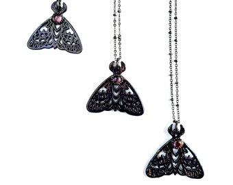 Iolite Granny's Cloak Moth Necklace // Electroformed Jewelry // Soldered Gunmetal Chain, Moth Necklace