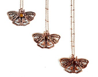 Isabella Tiger Moth Necklace // Electroformed Jewelry // Tigers Eye, Soldered Copper Chain, Moth Necklace
