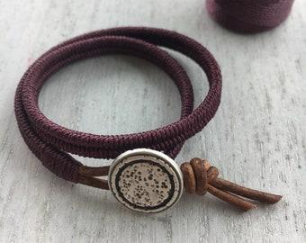 Womens Leather double Wrap Bracelet-Boho wrap bracelet, wrap bracelet, womens leather bracelet, womens bracelet, stackable bracelet