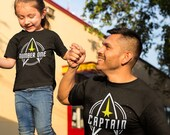 Captain and Number One Matching T Shirt Set, Family Shirts, Space Travel Inspired TH 593 - 603 Gift for Dad