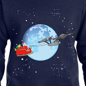 star trek sweater santa sweater star ship enterprise gift for star trek fan christmas sweater star trek christmas hoodie santa sleigh th395