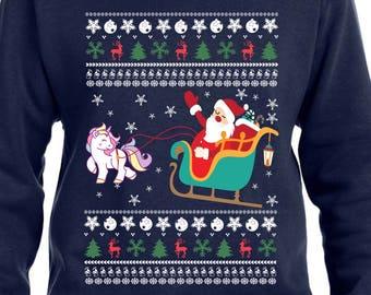 Unicorn Sweater Ugly Christmas Sweater Christmas Hoodie Santa Sweater Santas Sleigh Xmas Gift Xmas Sweatshirt Christmas Unicorn TH366