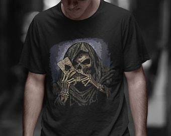 Grim Reaper Skull Head Adult T Shirt