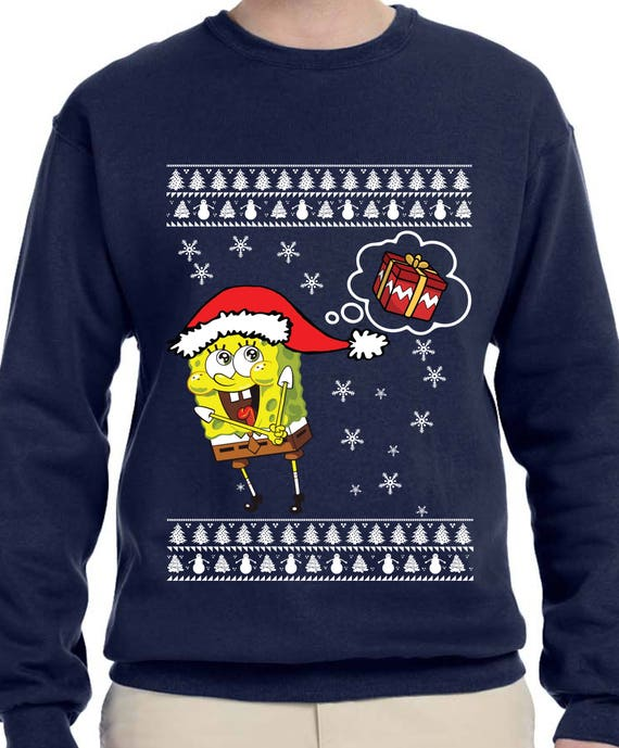 Sponge Bob Square Pants Ugly Christmas Sweater Th379 Etsy